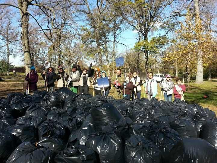 Cadette Troop 1182 in the Bronx helped clean up Pelham Bay Park.